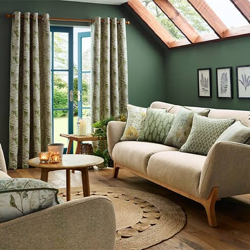 Fabrics with foliage designs for a fresh new room