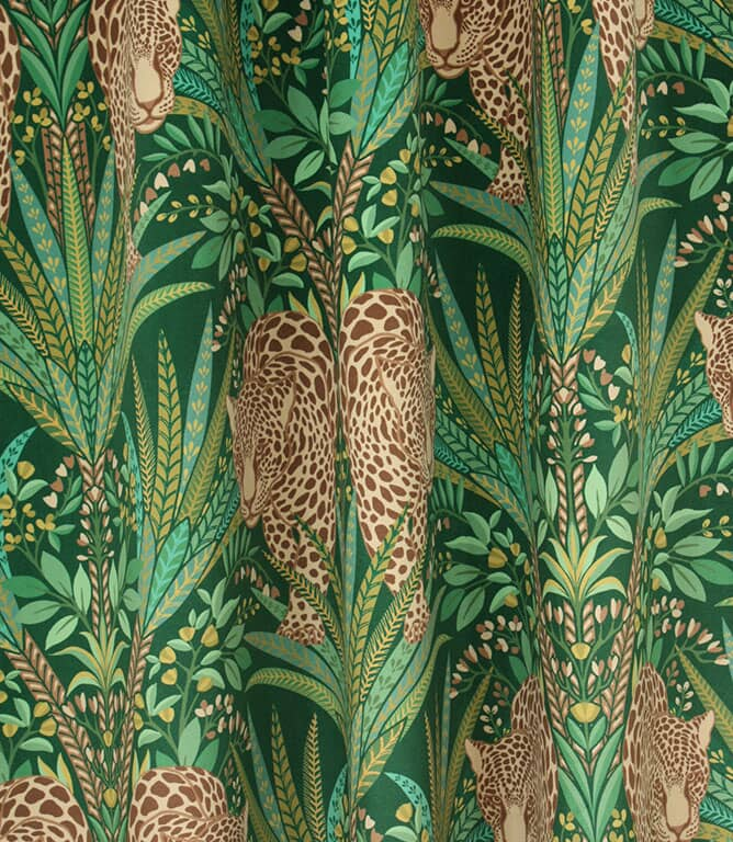 Jungle Jaguar Fabric / Spruce