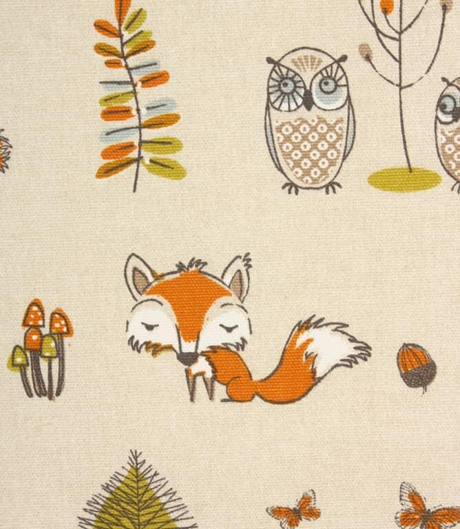 Woodland Fox Fabric / Terracotta
