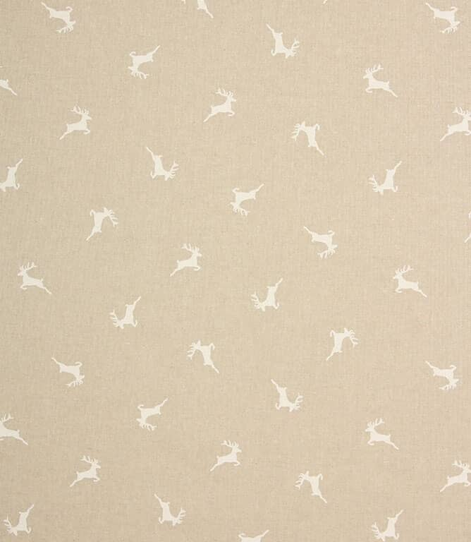 Xmas Stags Fabric / White