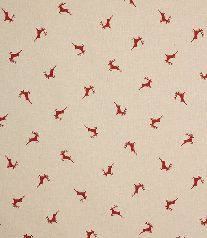 Xmas Stags Fabric / Red