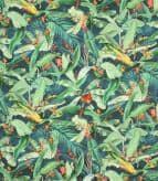 Tropical Parrots  Fabric / Navy