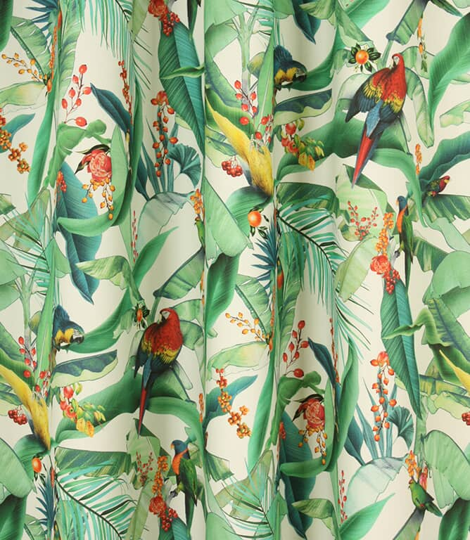 Tropical Parrots  Fabric / Ivory
