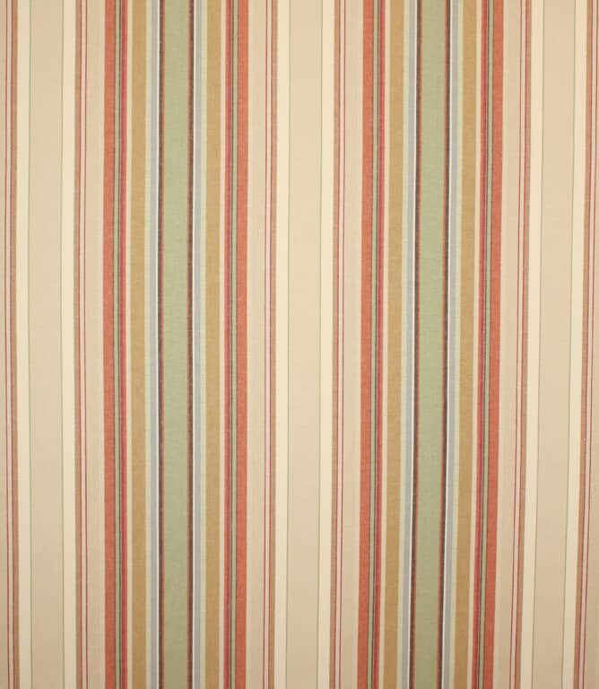 Brick Falmouth Stripe Fabric