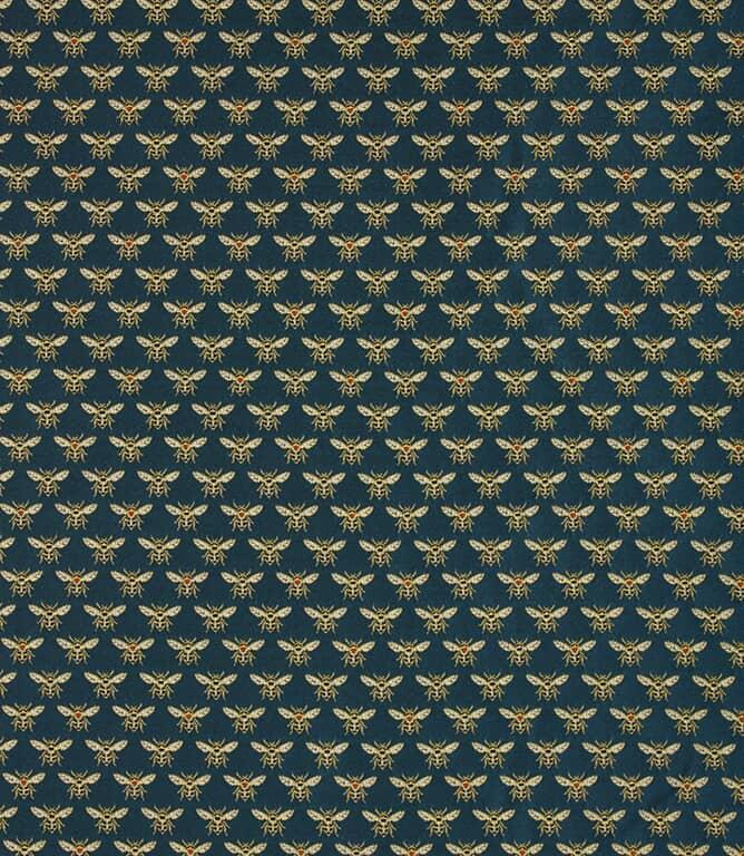Gold / Peacock Vespa Bees Fabric