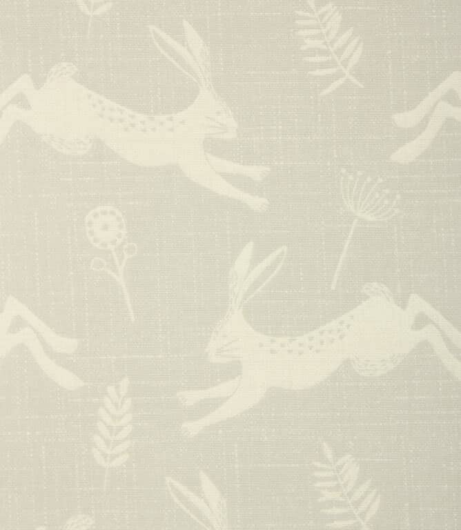 Hopping Hares PVC Fabric / Silver