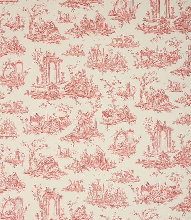 Soft Red French Toile Fabric