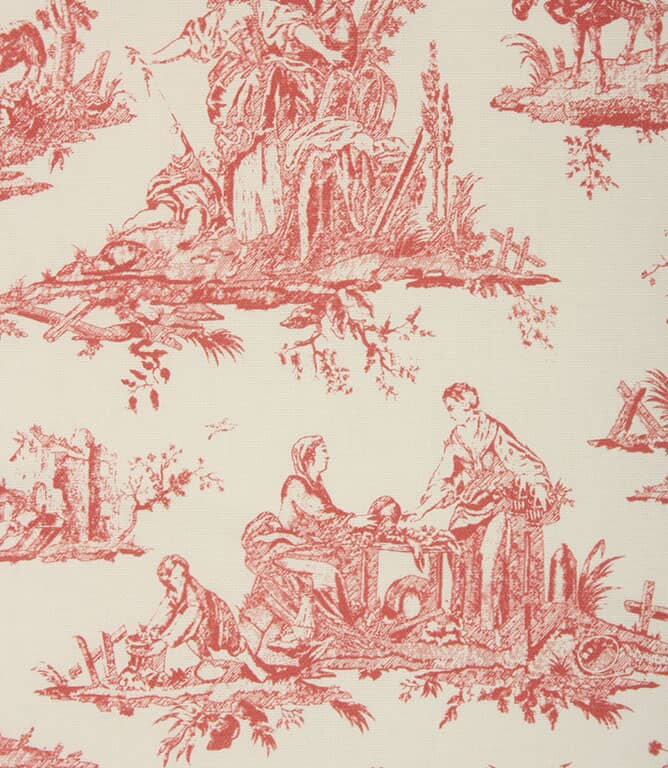 French Toile Fabric / Soft Red