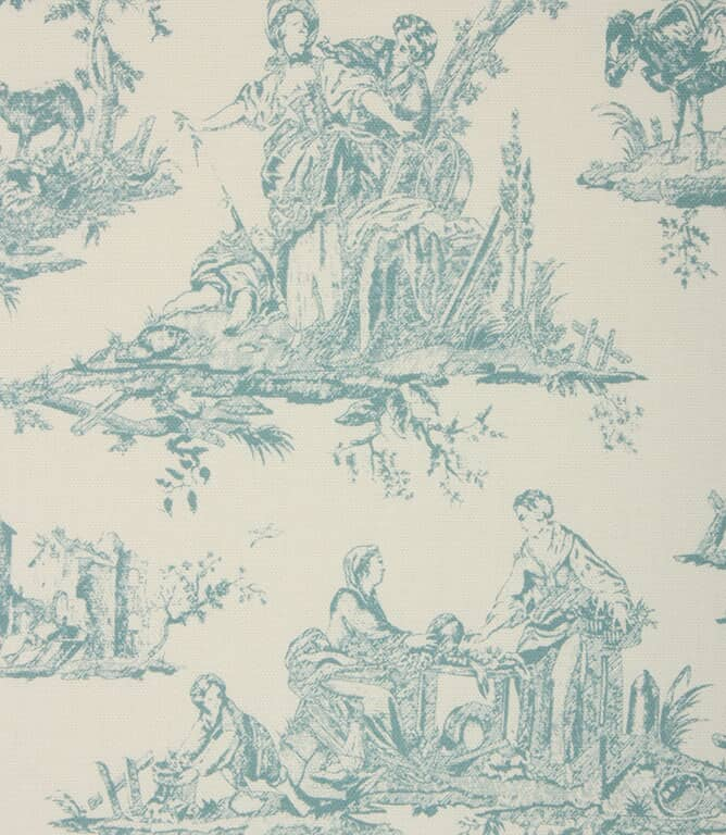 French Toile Fabric / Light Blue